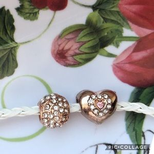 Jewelry - TWO Rose Gold & Rhinestone Heart & Star Charms